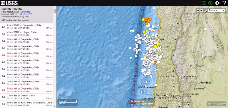 【群発地震】11日、チリでM6.9の地震が2回…11月になってからM5クラスの地震は約20回近くも発生中!