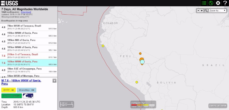 【USGS】ペルー・ブラジル国境付近でM7.6の地震が2回も発生
