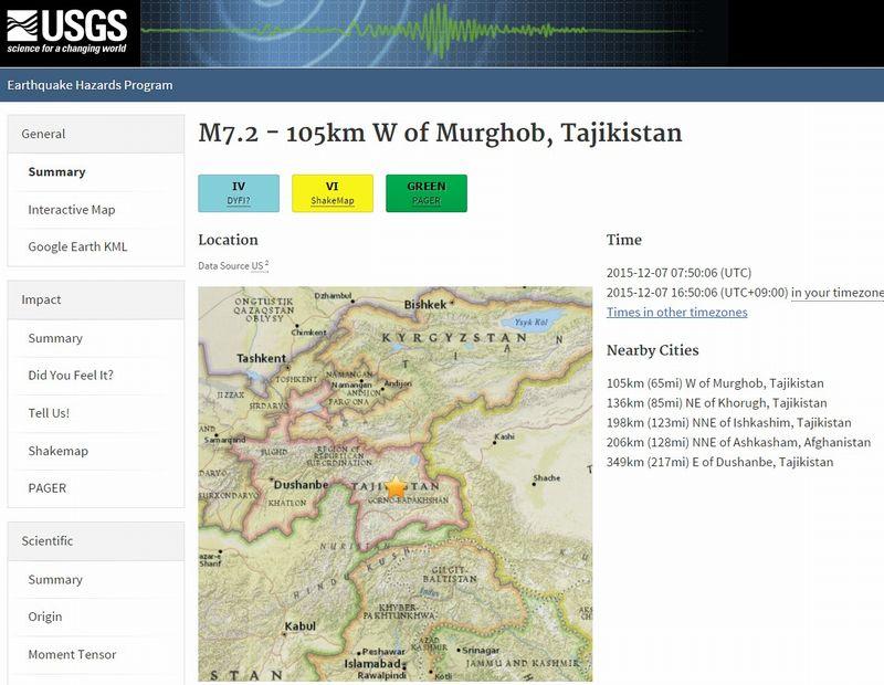 タジキスタン東部でM7.2の地震 深さは約28km…M4~5クラスの余震続く