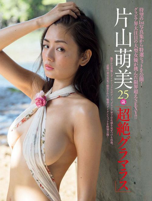 片山萌美の手ブラでおっぱい露出9