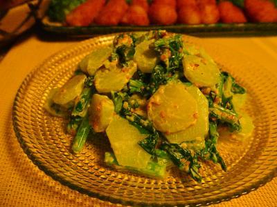 ブロッコリー茎と菜花のゴママヨネーズ