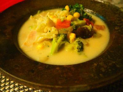 ブロッコリーとカリフラワーのクリーム煮