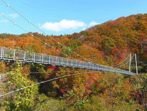 紅葉2015七ヶ宿5やまびこ吊橋