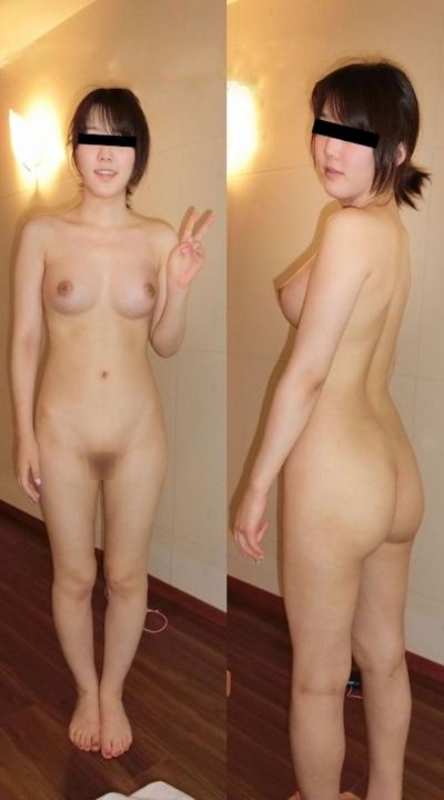 美乳&パイパンな素人美女のヌード画像 1