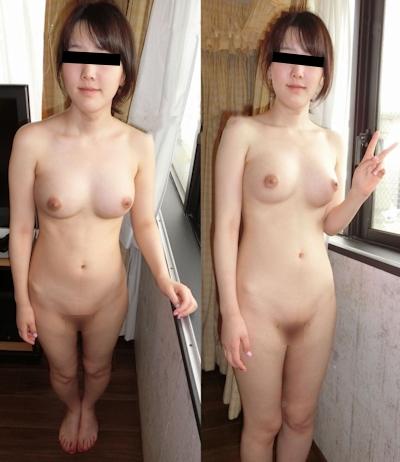 美乳&パイパンな素人美女のヌード画像 3