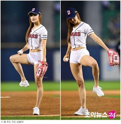 韓国マッスル美女 Choi Seol Hwa(チェ・ソルファ)のムチムチヒップなセクシー始球式 6