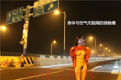 高速道路で野外露出してる美乳な中国女性のヌード画像 6