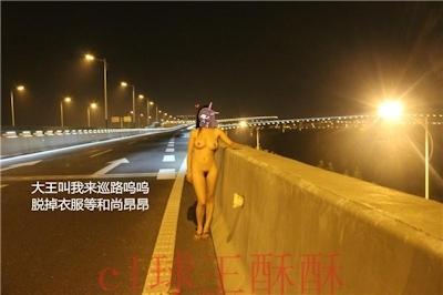 高速道路で野外露出してる美乳な中国女性のヌード画像 22