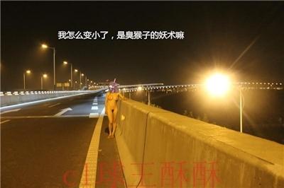 高速道路で野外露出してる美乳な中国女性のヌード画像 23