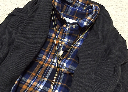 青系チェックシャツを着ました