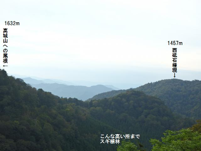 高城山への北側の尾根