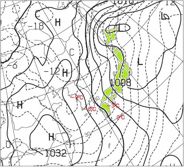 27日21時の数値予報天気図 850hPa高度の気温