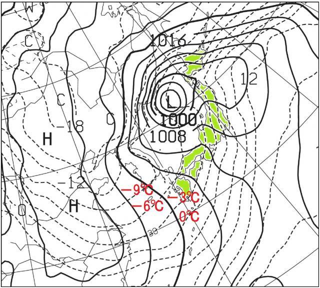 26日21時の数値予報天気図 850hPa高度の気温