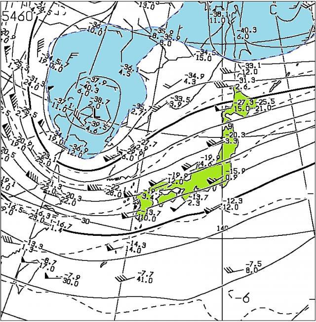 2015年11月25日21時の500hPa高層天気図