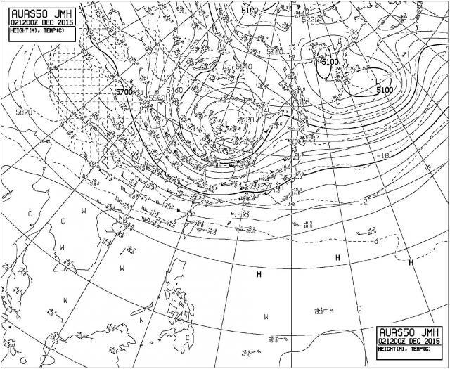 2015年12月2日21時の500hPa高層天気図