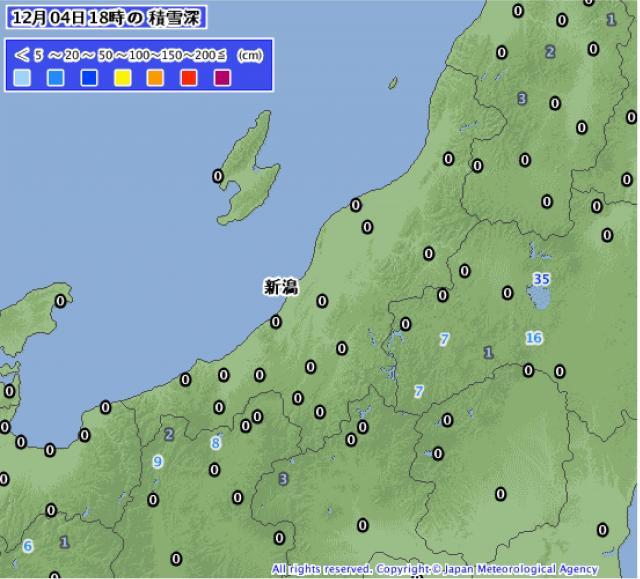 新潟県内で積雪観測はなし