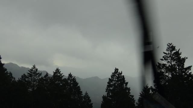 剣山は雲で見えない