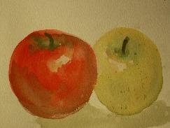 二つのリンゴ (クロッキー 水彩 4号)
