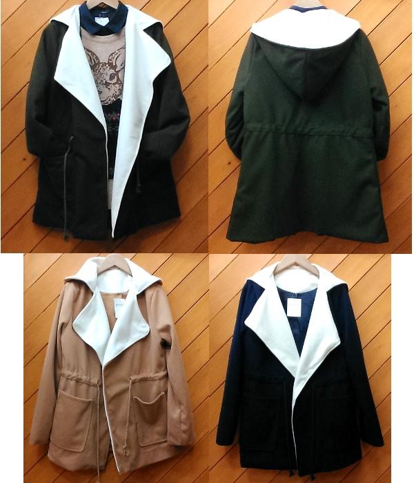 フード付きコート ¥3600+税