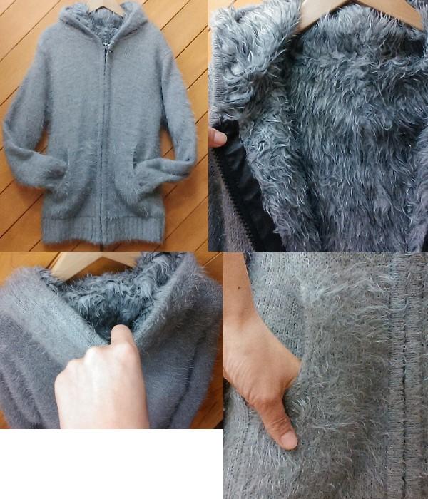 ニット素材フーテッドコート ¥3000+税