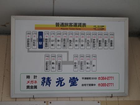 平津駅 運賃表