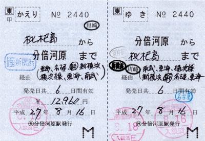 分倍河原⇔枇杷島(補充往復券)