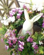 ウサギの置物と組み合わせたり