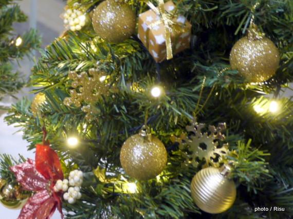 ミニツリーセット「エンジョイ・クリスマス~エレガンスゴールド~」60cm(LEDライト付き)
