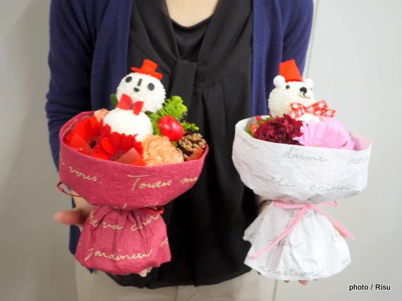そのまま飾れるブーケ「おめかし雪だるまのブーケ」&そのまま飾れるブーケ「くまサンタのブーケ」