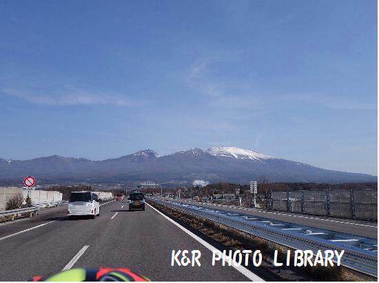 4月12日上信越道下り佐久市浅間山