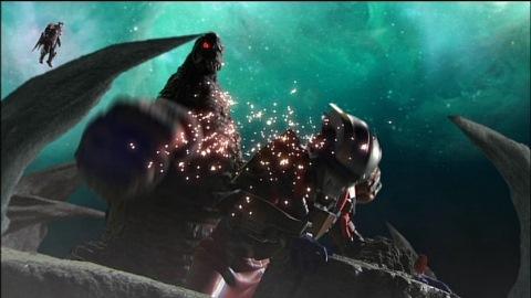 ピグモンを守るため、EXレッドキングの猛攻に耐えるウルトラマンゼロ(テクターギアゼロ)
