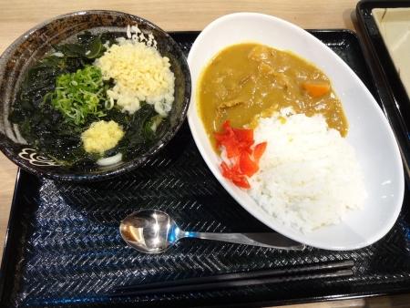 カレーセット 530円 (カレー小 と まるごとわかめうどん小)