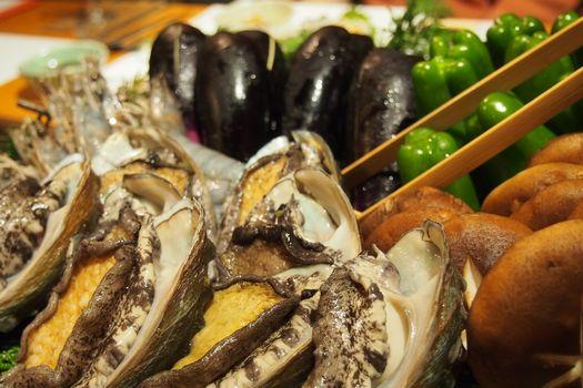 アワビ海老野菜