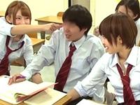 『巨根なんだって?』ショート巨乳のヤリマン同級生と中出し3P!
