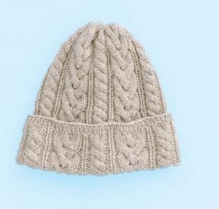 無料編み図棒針編み毛糸ピエロフォワールアラン模様の帽子