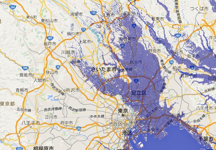 東京水面9メートル上昇