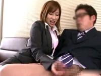 【奥田咲】巨乳痴女生保レディが手コキ&フェラ枕営業で見事に顧客をGET!