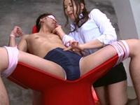 目隠し拘束M男を舐めまわして騎乗位で寸止めしまくる痴女エステ嬢