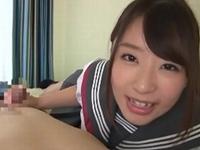 初美沙希 ポニーテールな美少女JKがオナニーを見せてくれてから主観フェラ、乳首舐め手コキ!