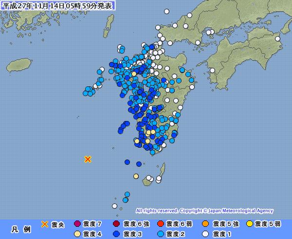 九州地方で最大震度4の地震発生 M7.0 震源地は薩摩半島西方沖 深さは約10km