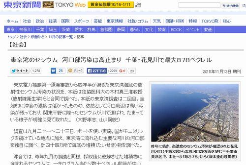 【東京湾セシウム】河口周辺は依然高い汚染…千葉・花見川で最大878ベクレル