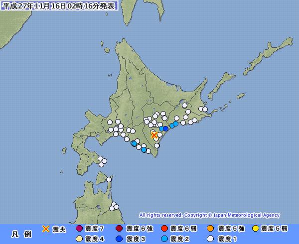 北海道で最大震度3の地震 M4.4 震源地は十勝地方南部 深さは約90km