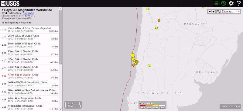 チリ中部でM6.8の地震…インドネシアのスマトラ島周辺ではM6.4の地震、M5~6の地震が連発