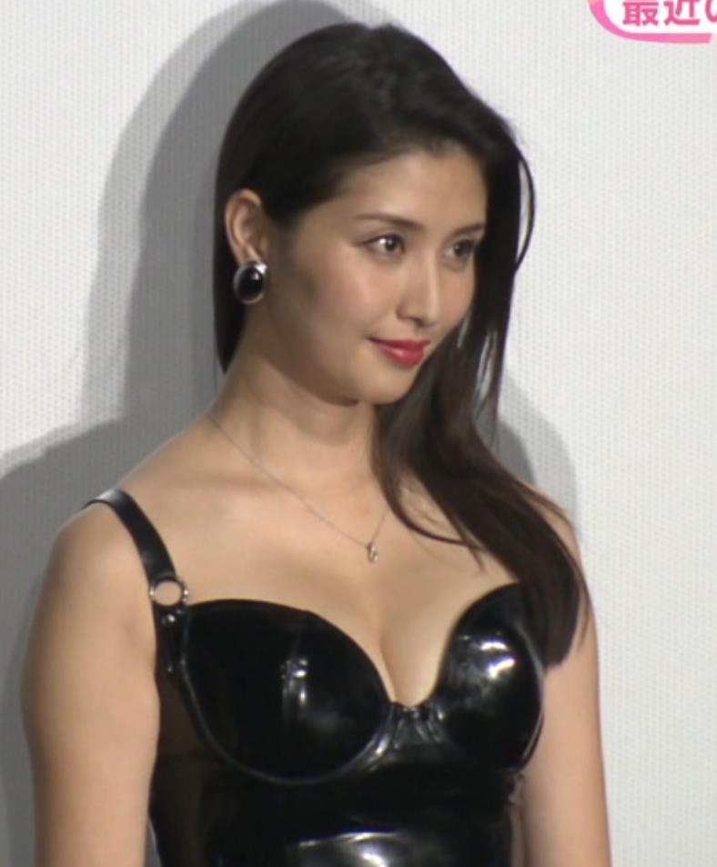 橋本マナミ 映画の宣伝、エナメルボンテージで胸を大きく露出キャプ画像(エロ・アイコラ画像)