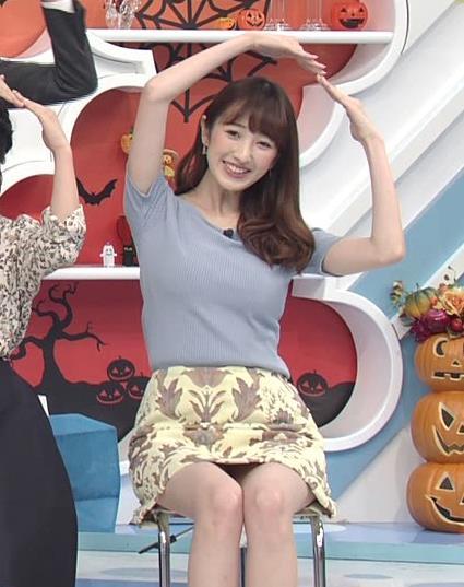 團遥香 ZIP!の巨乳さん、ミニスカのデルタゾーンからパンツ見えそう画像