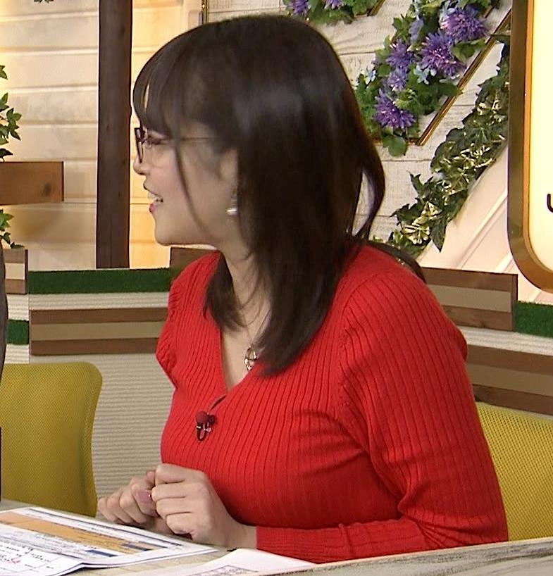 鷲見玲奈 赤いニット爆乳キャプ画像(エロ・アイコラ画像)