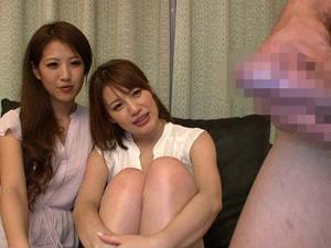 初めてのセンズリ鑑賞で痴女化した2人組の人妻たち 益若エリカ 本田莉子