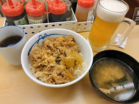 牛めし+生ビール@松屋